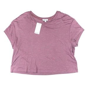 Splendid Size Large Mauve Pink Cropped Tee Shirt